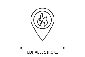 Fire location linear icon