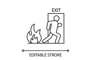 Fire emergency exit door with human linear icon