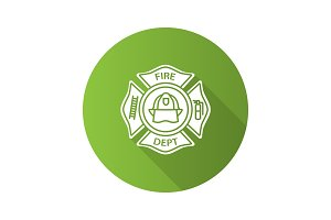 Fire department badge flat design long shadow glyph icon