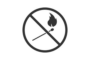 Forbidden sign with burning matchstick glyph icon