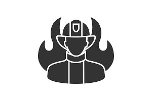 Firefighter glyph icon