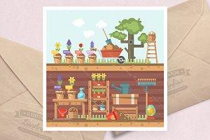 Spring gardening flat vector set