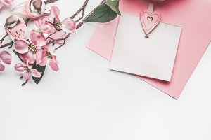 Pastel pink greeting card mock up