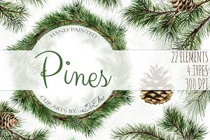 Pine Watercolor Clip Art