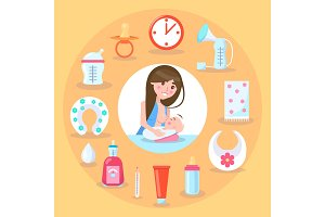 Breastfeeding Mother and Kid Vector Illustration