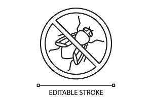 Stop housefly sign linear icon