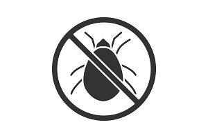 Stop mites sign glyph icon