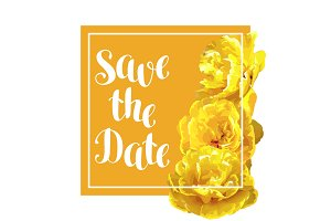 Save the date card with fluffy yellow tulips. Beautiful realistic flowers and buds