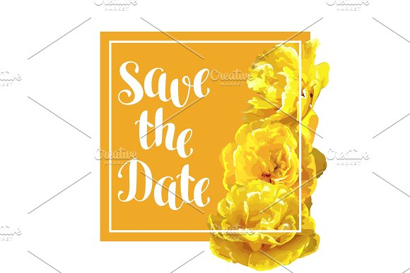 Save The Date Card With Fluffy Yellow Tulips Beautiful Realistic Flowers And Buds