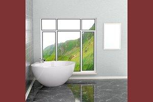 Luxurious white modern bathroom