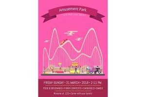 Amusement Park Pink Poster Vector Illustration