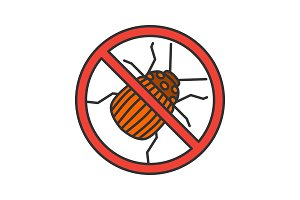 Stop colorado beetle sign color icon