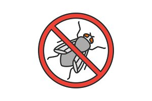 Stop housefly sign color icon