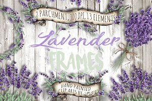 Lavender Frames Watercolor Clip Art