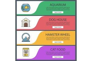 Pets suppplies web banner templates set