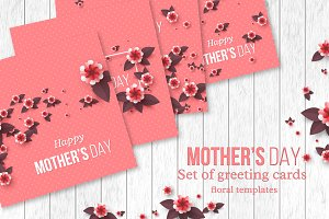 Set of Mother's day greeting cards.