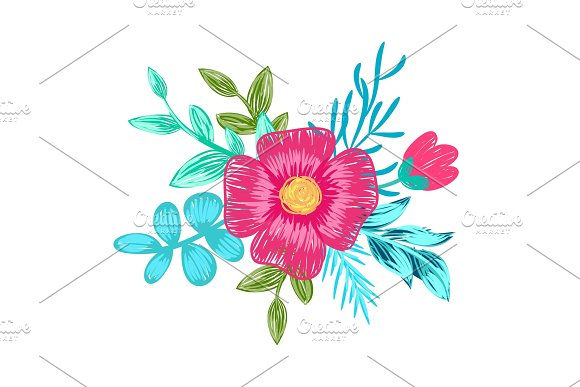 Pink Flower With Branches On Vector Illustration