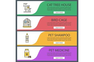 Pets suppplies web banner templates set