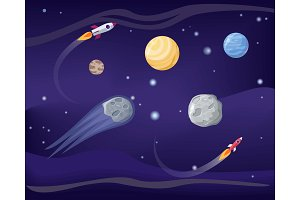 Planets and Rockets Poster Set Vector Illustration