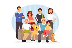 Cartoon big family