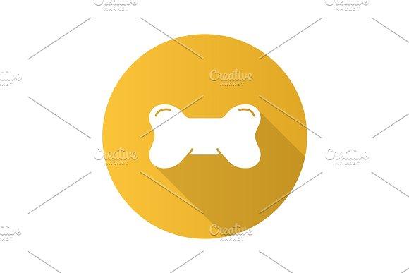 Dog's Bone Toy Flat Design Long Shadow Glyph Icon