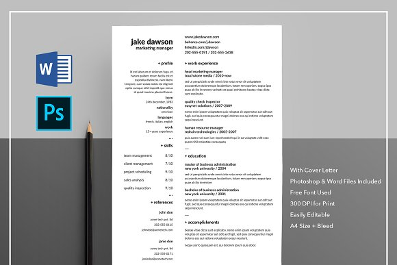 Resume CV With Cover Letter