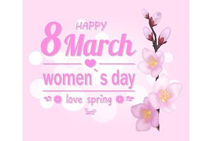 Happy 8 March Pink Banner Vector Illustration