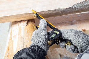 Builder  work at wooden
