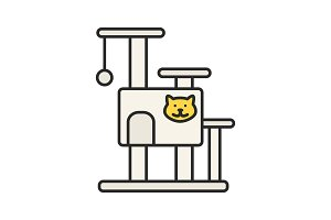 Cat's tree house color icon