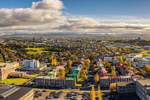Panorama of Reykjavik in Iceland viewed from above