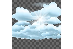 Clouds and sun on transparent effect background.