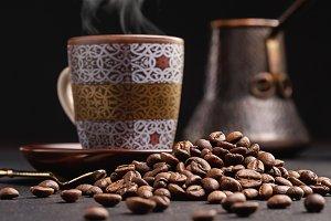 Coffee beans, coffee, turk.
