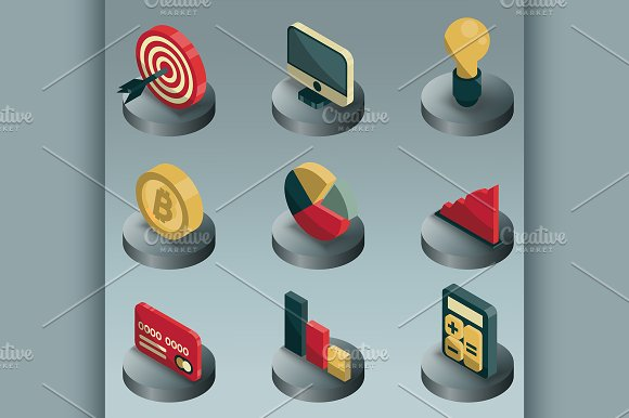 Business Color Isometric Icons