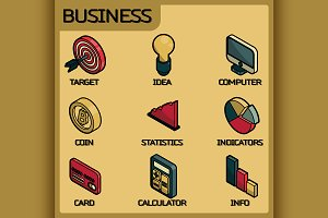 Business color outline icons