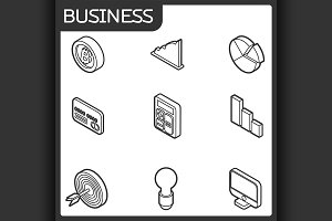 Business outline isometric icons