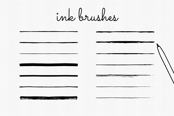 Handdrawn Ink Brushes Photoshop in Add-Ons - product preview 1