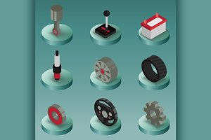 Car part color isometric icons