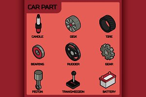Car part color outline icons