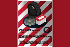 Car part isometric poster