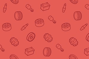 Car part outline isometric pattern