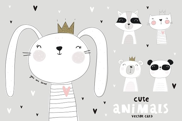 Cute Animals Card Notebook Poster