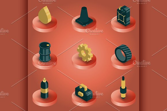 Car Tuning Color Isometric Icons