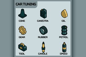 Car tuning color outline icon