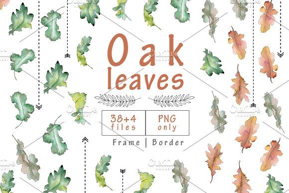 Oak Leaves PNG Watercolor Set