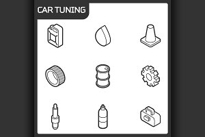 Car tuning outline isometric icons