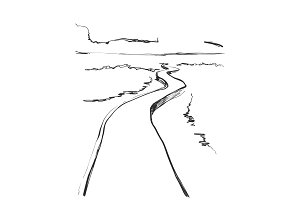 Road in countryside. Hand drawn landscape sketch. Mountains