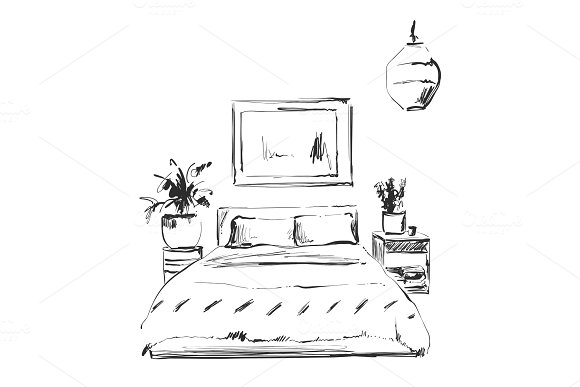 Bedroom Modern Interior Sketch Hand Drawn Furniture