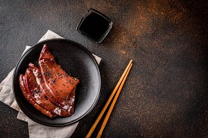 Raw beef liver with teriyaki