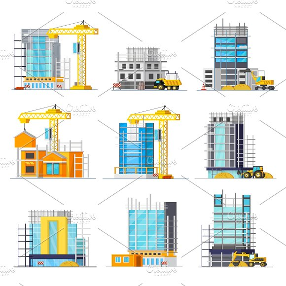 Construction Of Buildings Icons Set