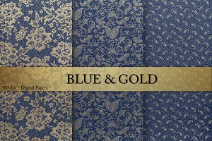 Gold & Blue Digital Paper